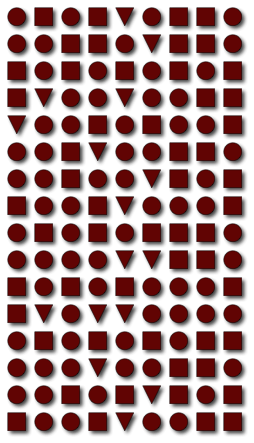 The Boyer-Moore MJRTY algorithm allows efficient determination of which shape (triangle, circle, square) is in the majority without counting each shape.