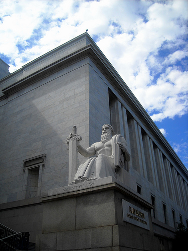 """Majesty of Law"" Statue in front of the Rayburn House Office Building in Washington, D.C., photo by flickr user NCinDC, used by permission (CC-by-nd)"