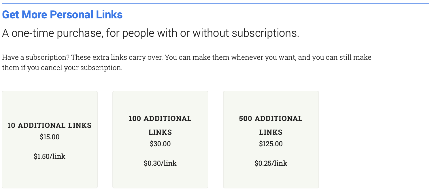 Image of one time purchase options. 10 additional links cost $15. 100 additional links cost $30. 500 additional links cost $125.