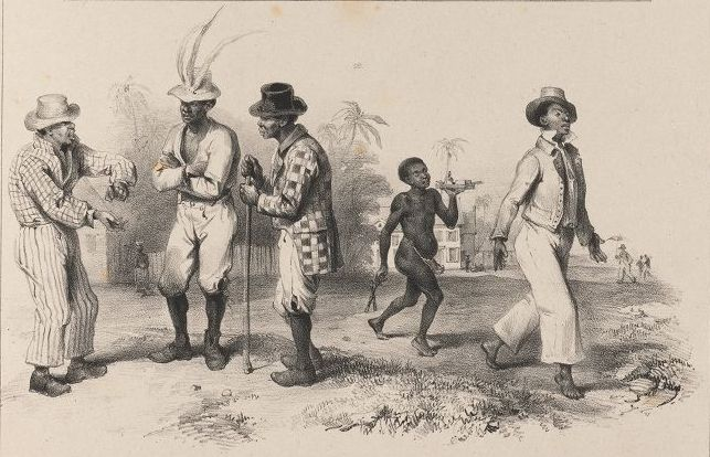 Three free black artisans converse while a wigmaker and his slave pass by.