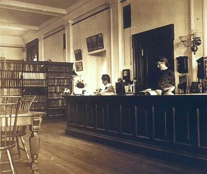 Jane Maud Campbell at the Newark Public Library, 1901_courtesy of Schlesinger Library