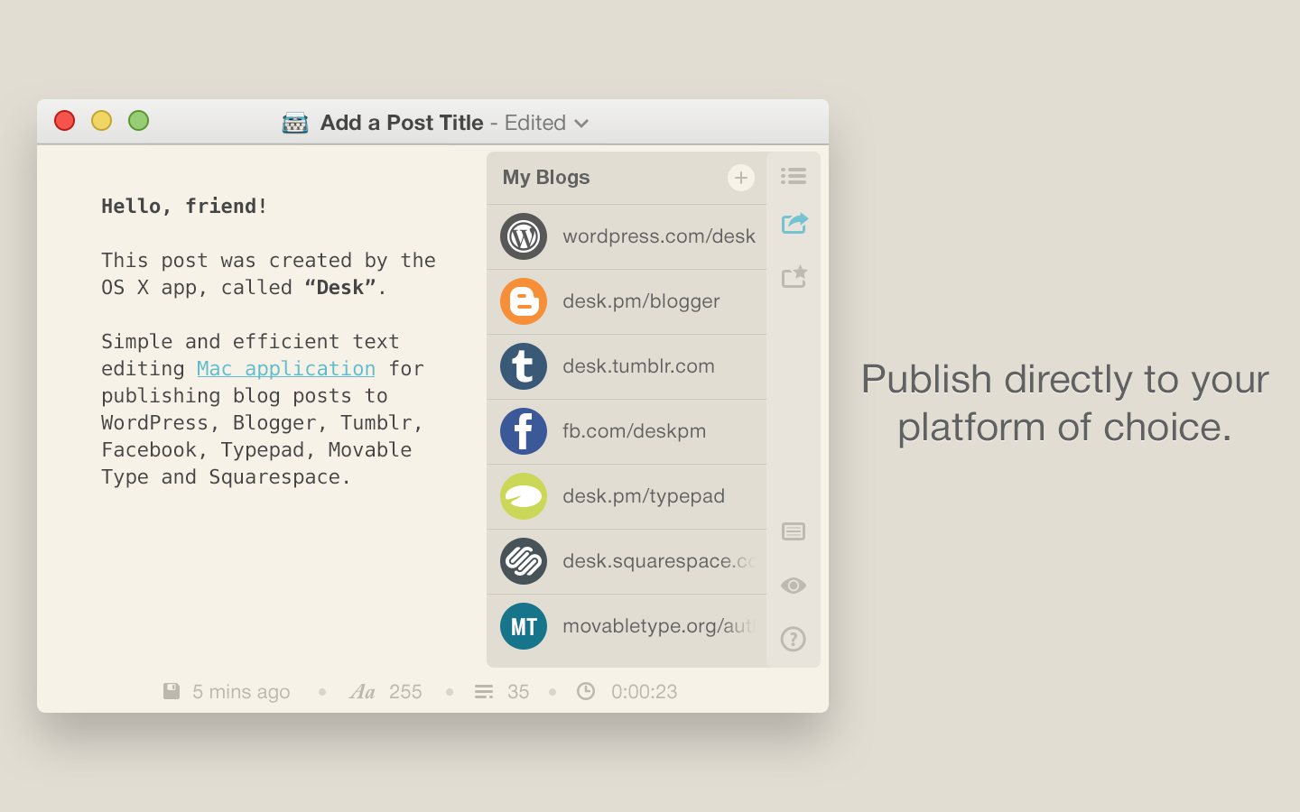 """Easy To Write And Share Posts (see """" Decisions Not Options. Full resolution  image, nominally Width 1440 Height 900 pixels, image with #C45707."""