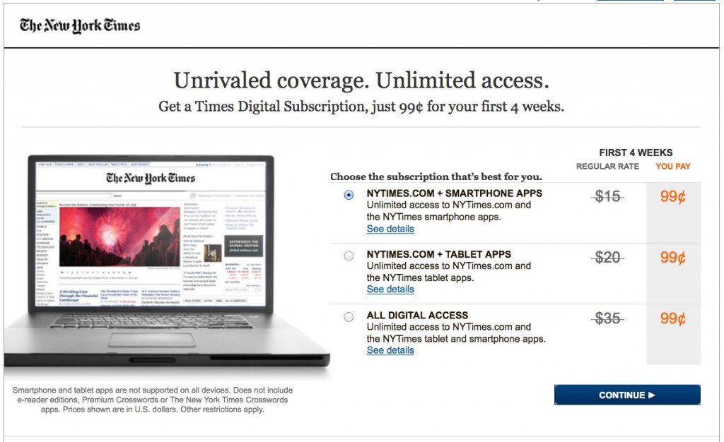 NYTimes digital subscription first page