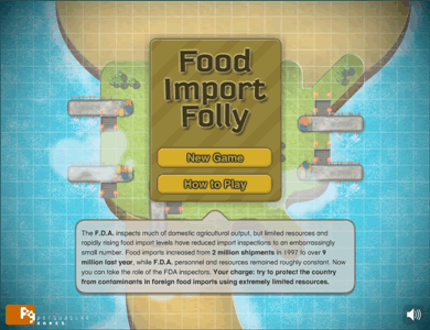 Food Import Folly new game screen