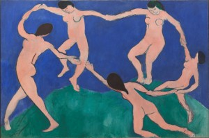 "<em>Dance (I)</em>, Henri Matisse, 1909. Held by MOMA. Image from MOMA's <a href=""http://www.moma.org/collection/works/79124"">website</a>"