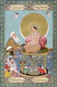 "<em> Jahangir Preferring a Sufi Shaikh to Kings</em>, ca. 1615-18, Signed by Bichitr. Held by the Freer Gallery of Art, I took this image from their <a href=""http://www.asia.si.edu/explore/worlds-within-worlds/zoom/jahangir-preferring-sufi-shaykh-to-kings.asp"" target=""_blank"">website</a>"