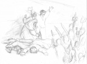 <em>Massacre at the Gulberg Society, a la Goya's The 3rd of May</em>. Pencil