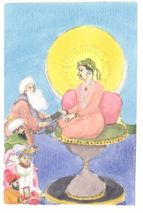 <em>Jahangir Preferring a Sufi Shaikh to Kings as an example of Mughal light imagery</em>. Watercolor.
