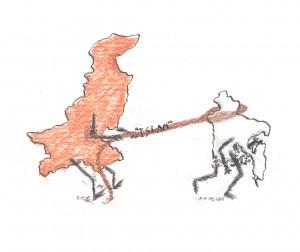 <em>Bengal's Escape</em>. Conte crayon and pen and ink.