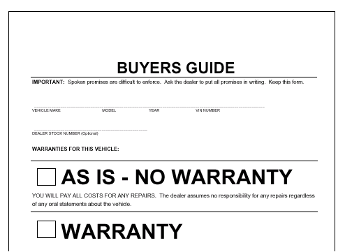 Bill of sale template free car auto vehicle automobile for Used car warranty template