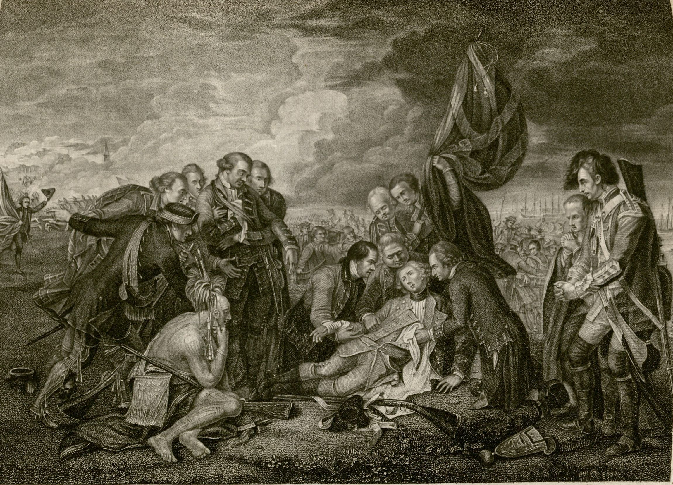 Death of James Wolfe. Engraving by Angelo Zaffonato, after Benjamin West. MS Hyde 76 (5. 3. 146. 4)