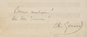 "Handwritten congratulations by Gounod, on Lefebvre's ""Duetto italien,"" Mus 735.386.571"