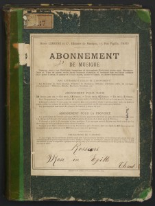 Lemoine circulating library notice, ca. 1885, on the cover of Mosè in Egitto, Mus 795.1.612.3