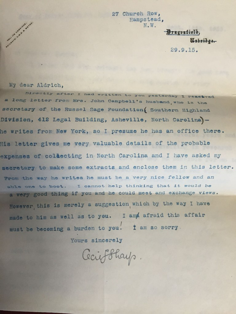 Letter from Sharp to Aldrich, Sept. 29, 1915, Ms. Coll. 131 (120)