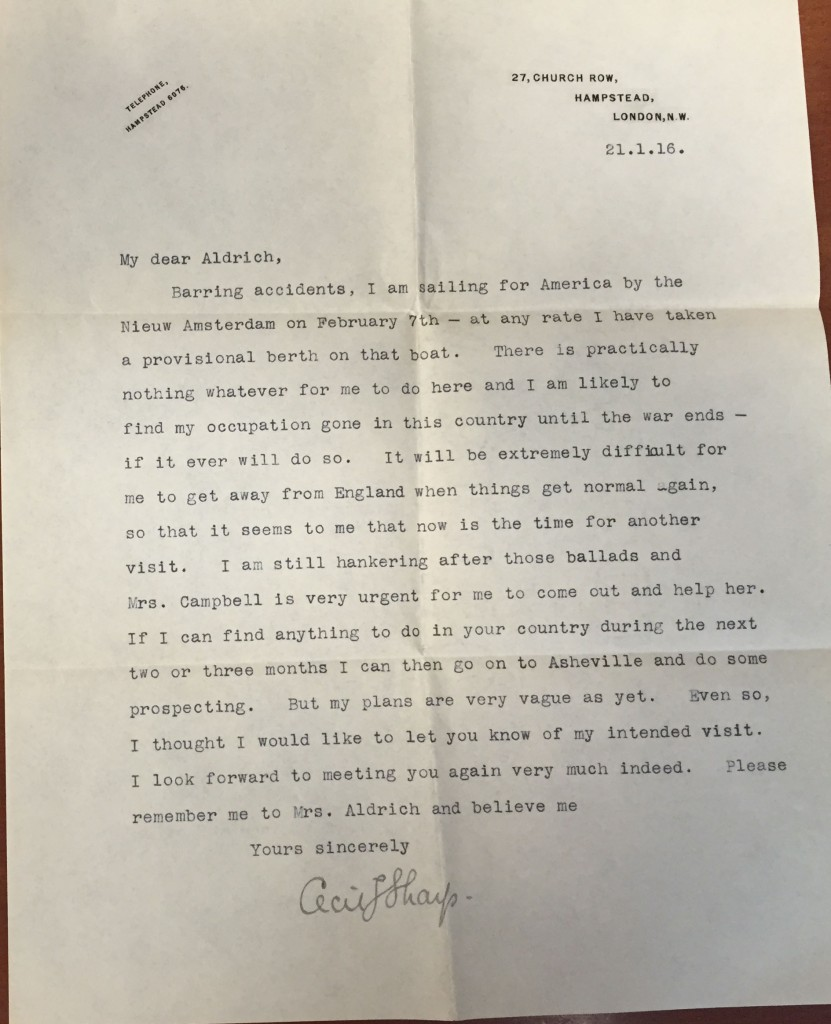 Letter from Sharp to Aldrich, Jan. 21, 1916, Ms. Coll. 131 (127)