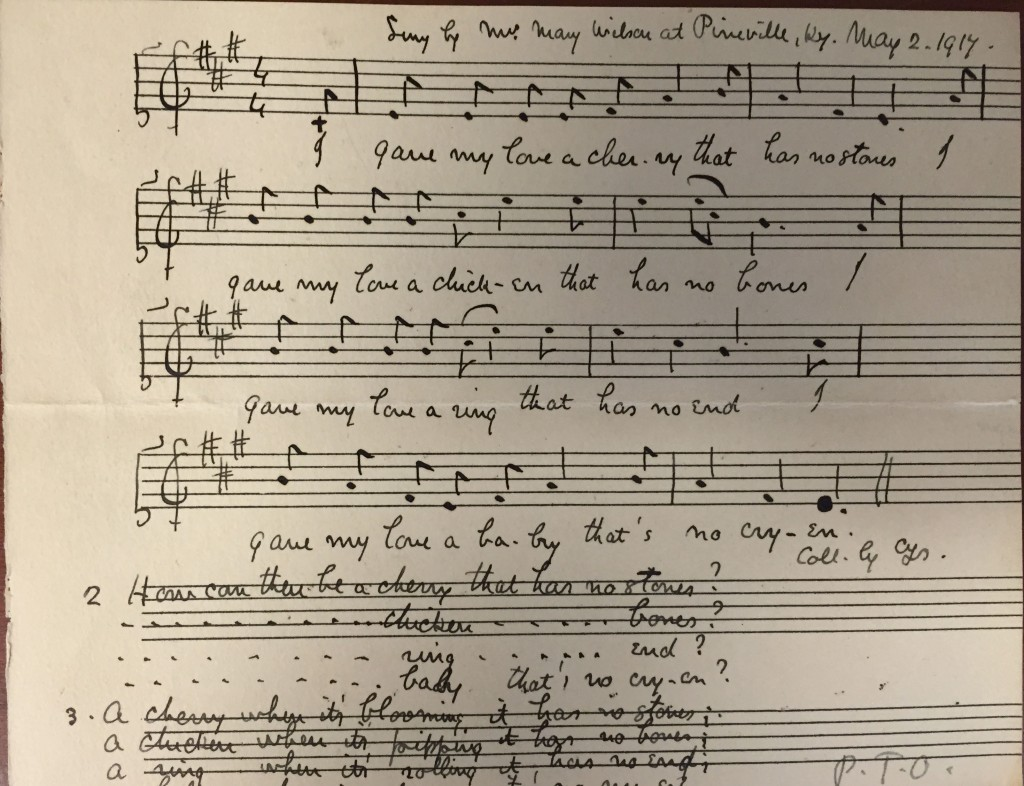 """Ms. transcription of folk song """"I gave my love a cherry""""; accompanied letter from Sharp to Aldrich, May 10, 1917, Ms. Coll. 131 (136)"""