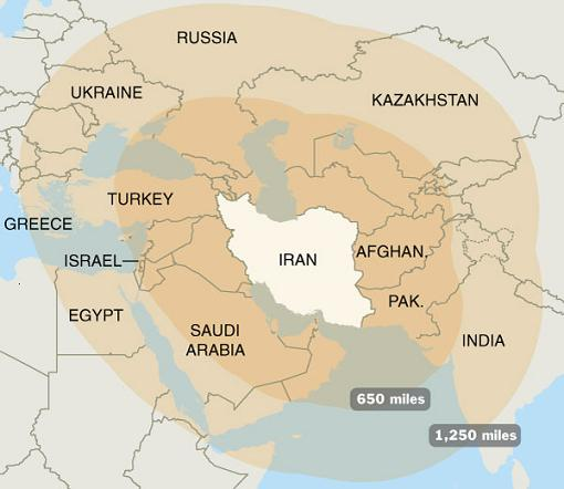 Media mapping of Iran\'s missile range Middle East Strategy ...