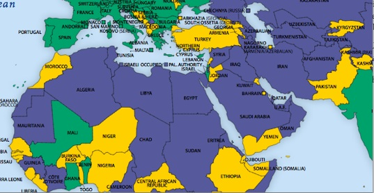 Middle East Map With Countries.Middle East Seen From Freedom House Middle East Strategy At Harvard